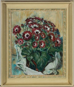 Douglas Relf (act.1935-48) - Signed & Framed Early 20th Century Oil, Cineraria