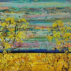 Yellow Flower Fields, Painting, Oil on Canvas