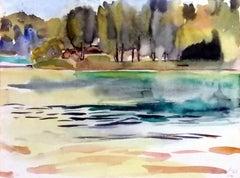 Summerday at Lake of Liepnitz near Berlin, Painting, Watercolor on Watercolor Pa