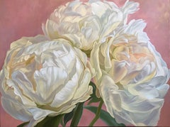 White peonies, Painting, Oil on Canvas
