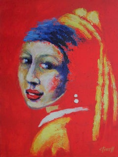 Girl With A Pearl Earring - Red Portrait 2, Painting, Acrylic on Canvas