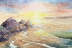 Three Cliffs Sunset. The Gower, Painting, Watercolor on Watercolor Paper