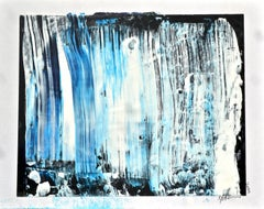 Waterfall 3 - Blue and White on Black, Painting, Acrylic on MDF Panel