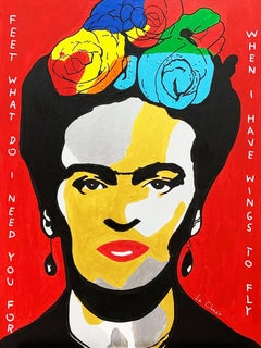 FRIDA KAHLO (RED), Painting, Acrylic on Canvas