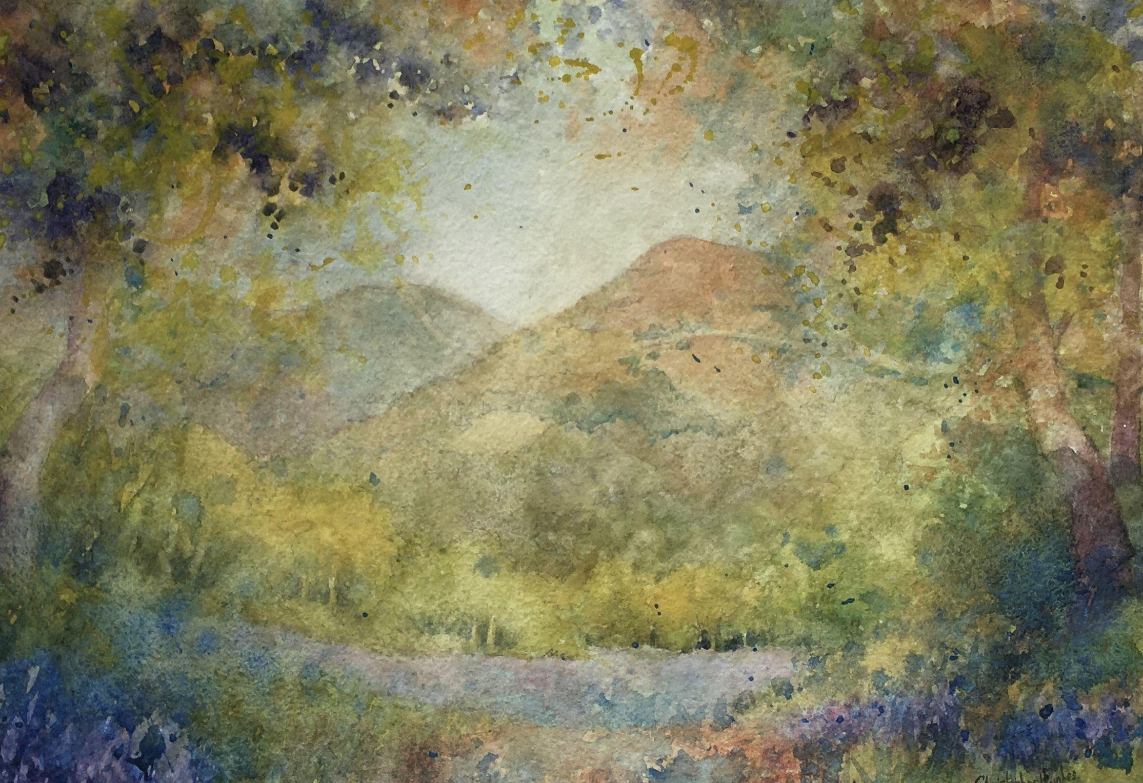 Bluebells and Malverns.An Impression, Painting, Watercolor on Watercolor Paper