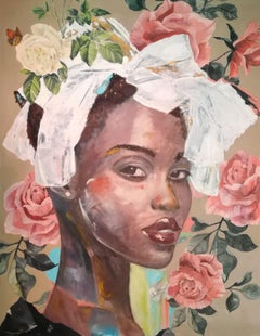 Mary Ann - Mysterious Rose collection, Painting, Acrylic on Canvas