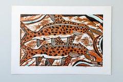 Upside Down Cat Fishes, Elia Shiwoohamba, cardboard print on paper