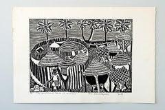 The Traditional House of Namibia, Elia Shiwoohamba, Linocut print on fabriano