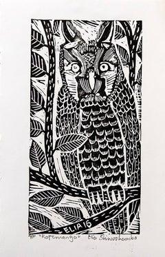 Kopemanga, Elia Shiwoohamba, Linoleum block print on paper