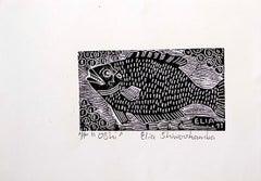 Oshi, Elia Shiwoohamba, Linoleum block print on paper