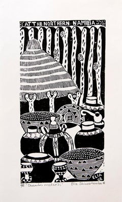 Owamba Materials, Elia Shiwoohamba, Linoleum block print on paper