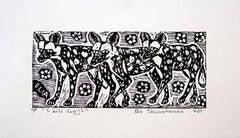 3 Wild Dogs, Elia Shiwoohamba, Linoleum block print on paper