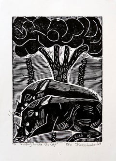 Resting Under The Tree, Elia Shiwoohamba, Linoleum block print on paper