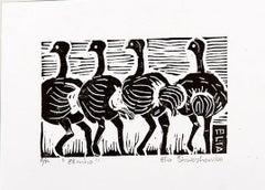 Elmho, Elia Shiwoohamba, Linoleum block print on paper
