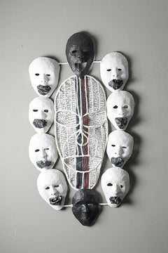 Suffocated Mind, Elisia Nghidishange, mised media, plaster, wire, paper