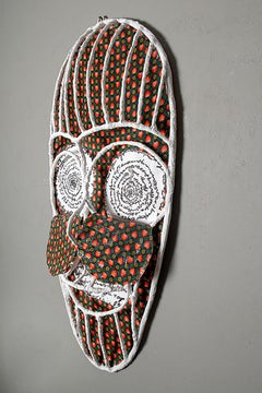 The mask of talking eyes 1, Elisia Nghidishange, fabric, wire, plaster