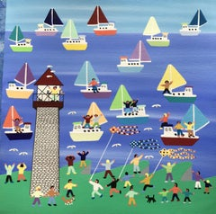 Regatta day, Painting, Acrylic on Paper