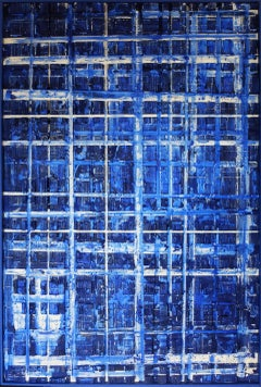Above the blue city, Mixed Media on Canvas