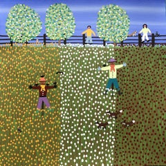 Scarecrows in the mixed flowers, Painting, Acrylic on Paper