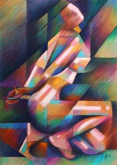 Roundism – 18-01-18, Drawing, Pastels on Pastel Sandpaper
