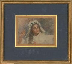 Late 19th Century Watercolour - Pretty Woman In White