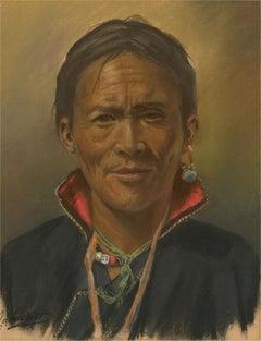 J.A. Hulbert (1900-1979) - Mid 20th Century Pastel, Tibetan Man with Collar