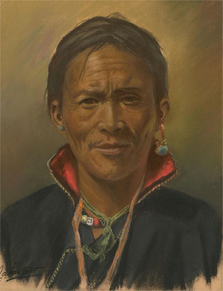 J.A. Hulbert (1900-1979) - Mid 20th Century Pastel, Tibetan Man with Collar For Sale 1