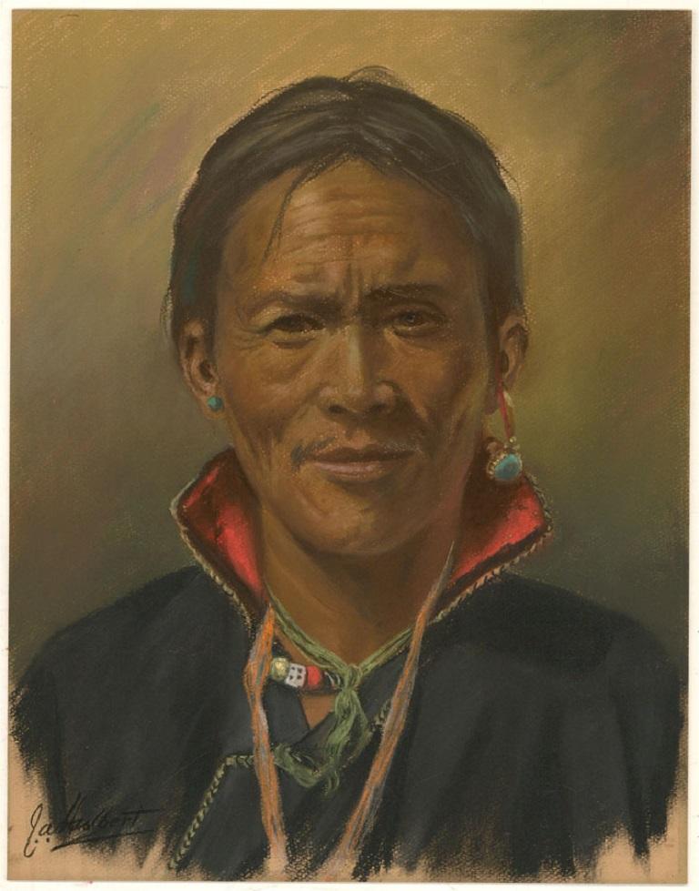 J.A. Hulbert (1900-1979) - Mid 20th Century Pastel, Tibetan Man with Collar - Brown Portrait by J.A. Hulbert