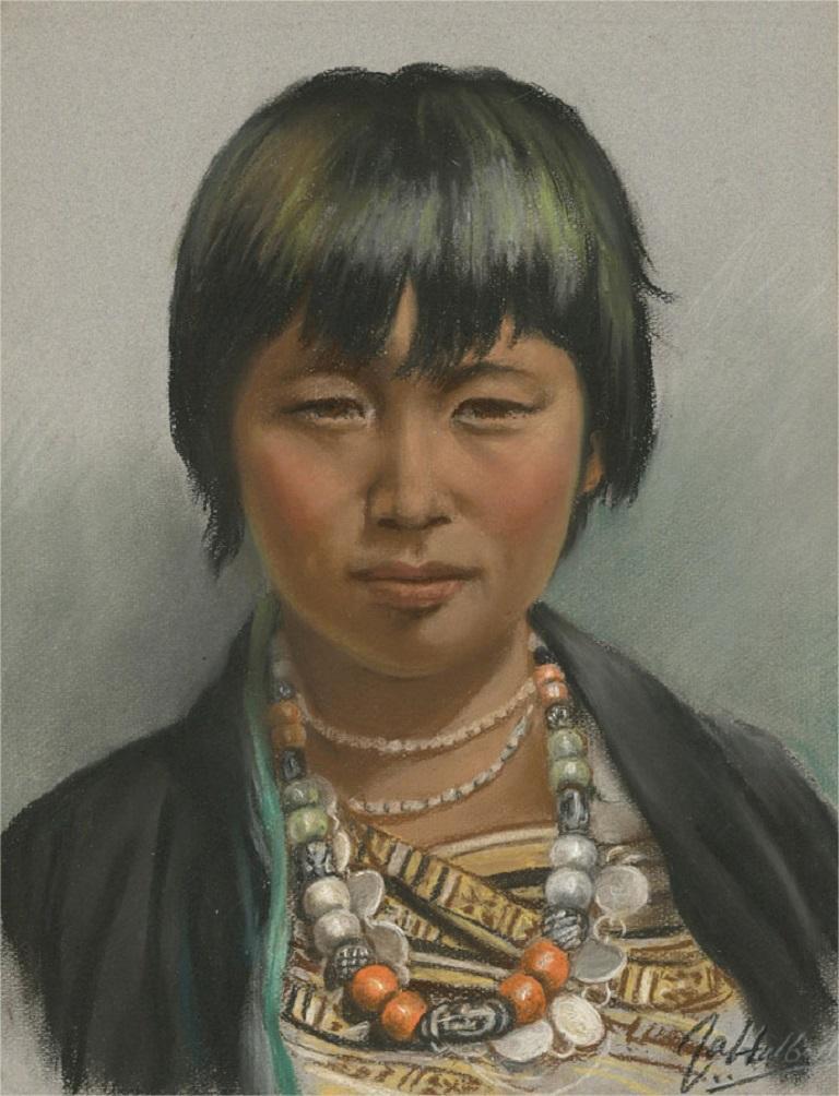 J.A. Hulbert (1900-1979) - Mid 20th Century Pastel, Tibetan Boy
