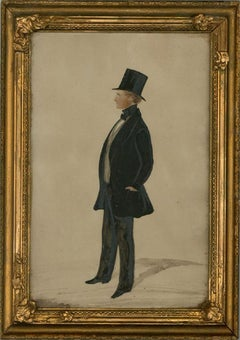 Framed Mid 19th Century Watercolour - The Tall Gentleman