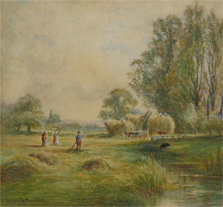 Henry John Kinnaird (1861-1929) - Late 19th Century Watercolour, Haymaking - Beige Landscape Art by Henry John Kinnaird