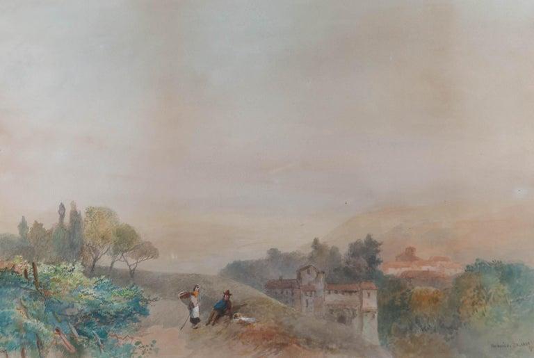 James Vivien de Fleury (1847-1902) - Late 19thC Watercolour, The Adige, Tyrol - Gray Landscape Art by James Vivien de Fleury