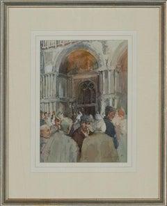 Paul Banning (b.1934) RI, RSMA - 1995 Watercolour, Sunday Morning Chat, Venice
