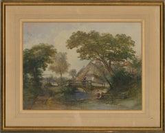 Thomas R Colman Dibdin (1810–1893) - 1854 Watercolour, Cottage By The Stream