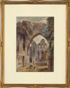 1875 Watercolour - Melrose Abbey Ruins