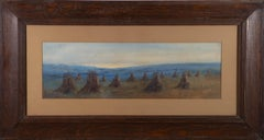 Clive Natt - Signed & Framed Mid 20th Century Watercolour, Stooks in the Eve