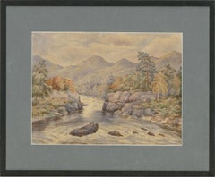 Mid 19th Century Watercolour - River View with Mountains