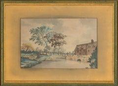 Mid 19th Century Watercolour - Rural Scene with Small Bridge