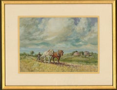 Frederick Hines (1875-1928) - Early 20th Century Watercolour, Plowing The Fields