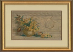Late 19th Century Watercolour - Vase with Yellow Flowers