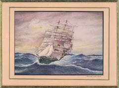 T. J. Profit - Signed & Framed 1984 Watercolour, Thermopylae Rounding Cape Horn