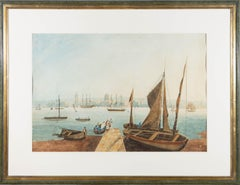 Framed Early 19th Century Watercolour - Cityscape, The Disembark