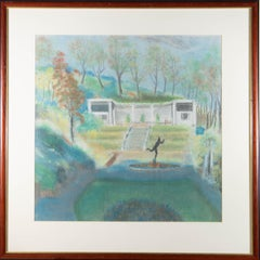 Framed 20th Century Pastel - South Cliff Italian Gardens, Scarborough