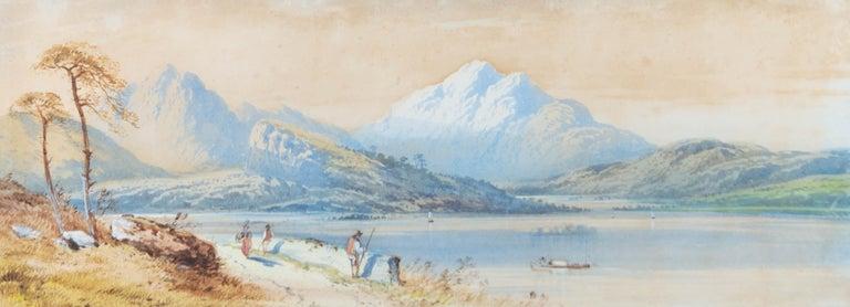 Edwin Earp (1851-1945) - Signed & Framed 1871 Watercolour, Summer by the River - Beige Landscape Art by Edwin Earp