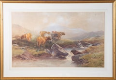 Thomas Rowden (1842-1926) - 1897 Watercolour, Cattle Graze By A Mountain Spring