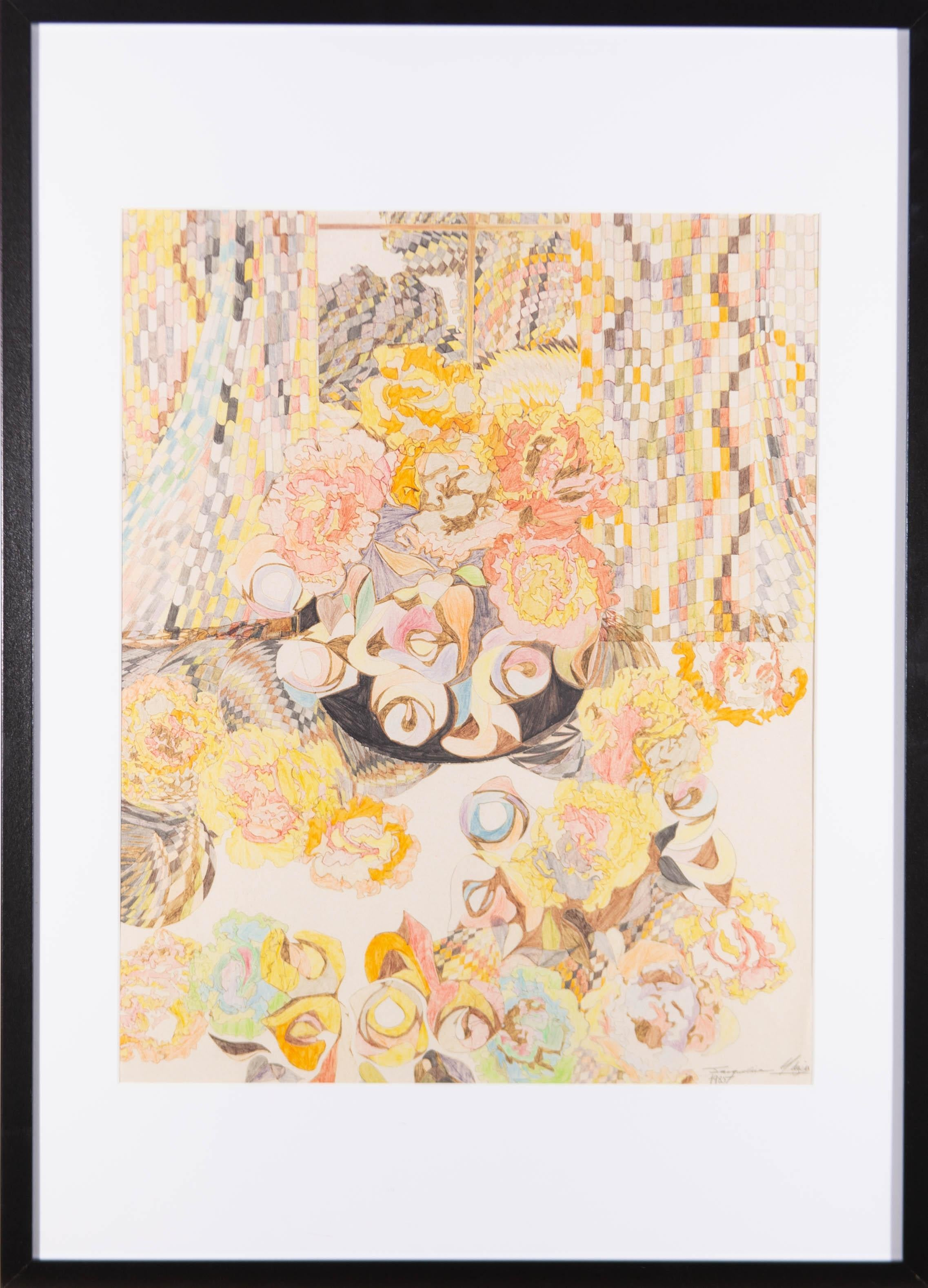 Jacqueline Midgen - 1985 Coloured Pencil, Psychedelic Still Life