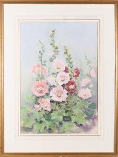 Joyce Hall - Signed & Framed Mid 20th Century Pastel, Hollyhocks