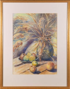 Basil E. Pursall - 20th Century Watercolour, Flower Vase and Apples