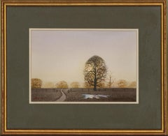 Geoffrey John Hall (b.1946) - 1984 Watercolour, Winter Country Lane