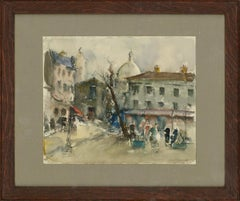 Guillaume - Signed & Framed Contemporary Watercolour, Winter Streets